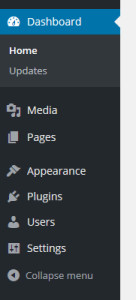 Edited WordPress Dashboard left menu