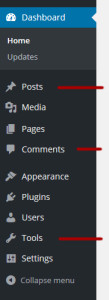 Default WordPress Dashboard left menu